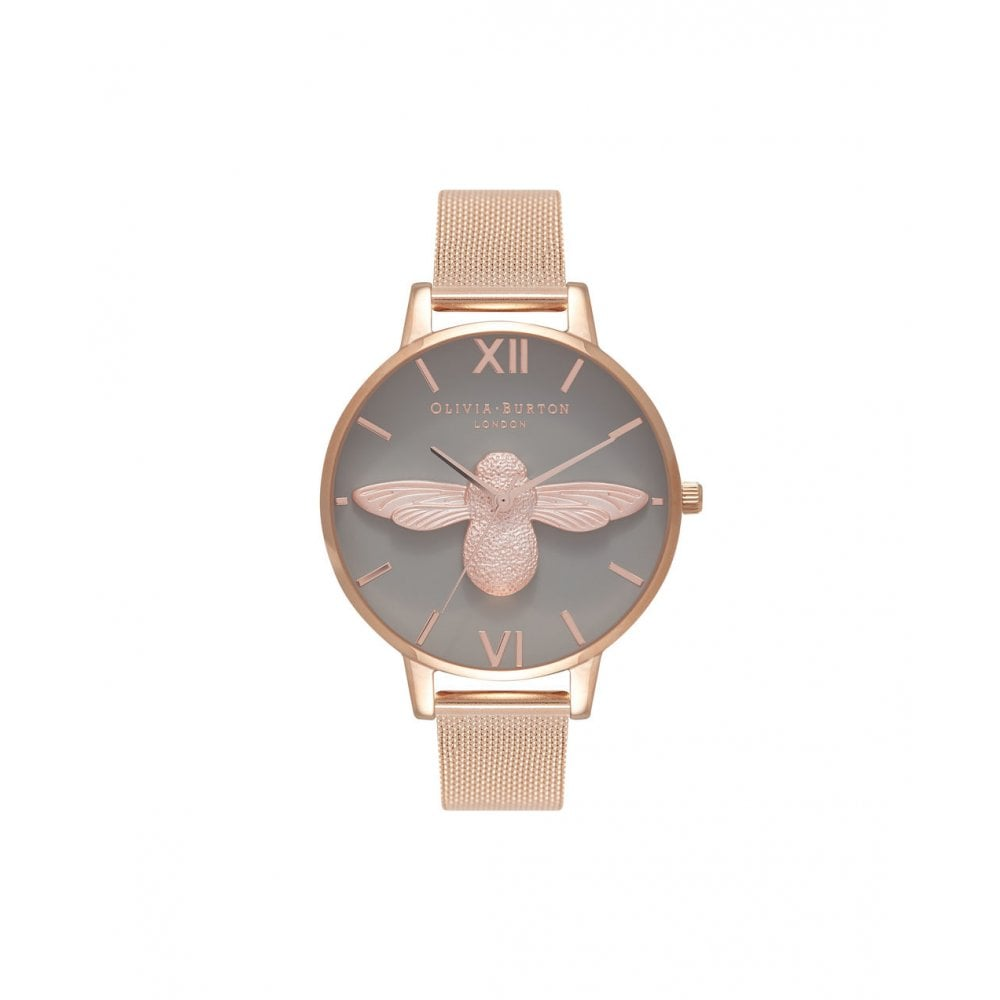 682f9f8e9fbb Olivia Burton 3D Bee Grey Dial Rose Gold Mesh Watch - Watches from ...