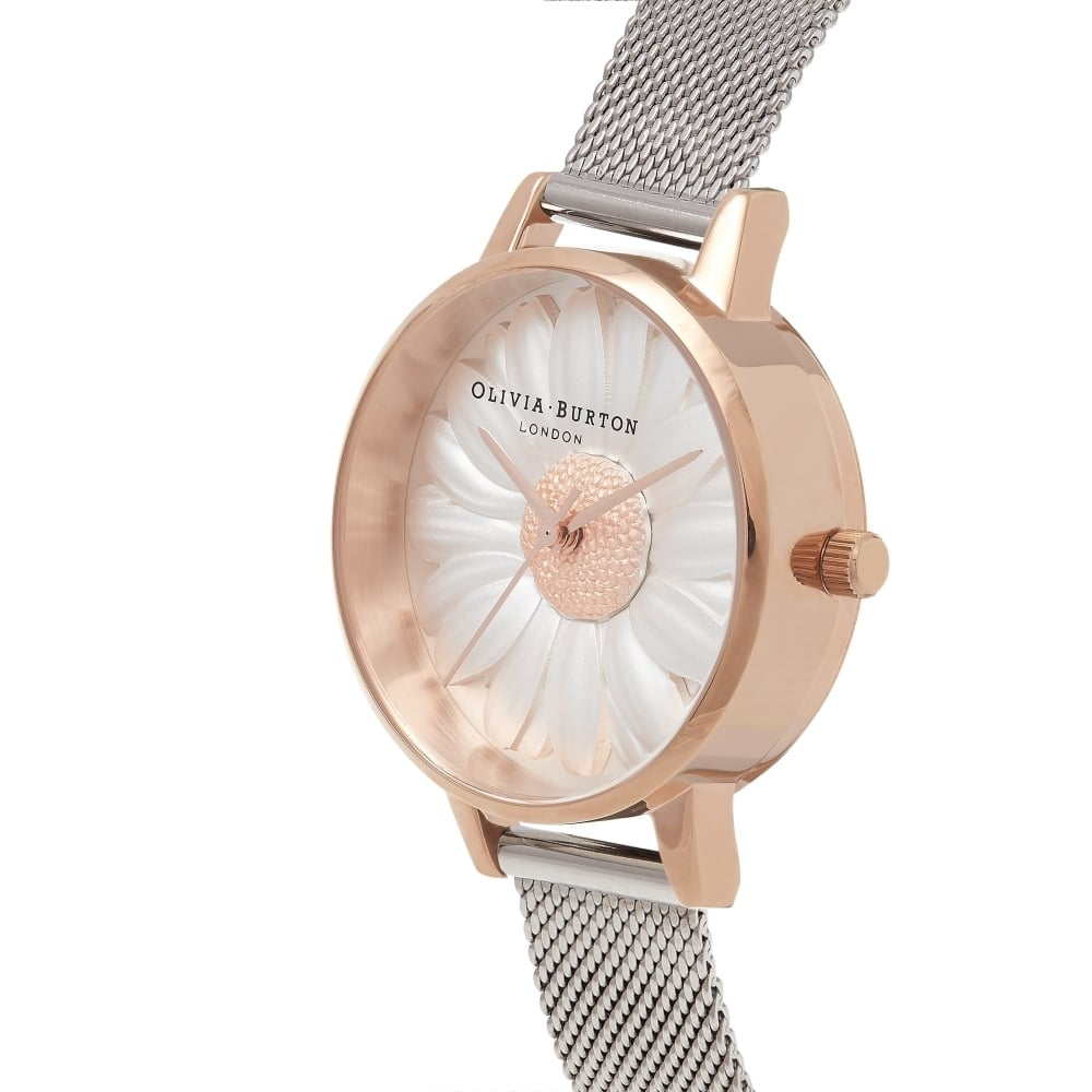 04bb1bf663b1d4 Olivia Burton 3D Daisy Rose Gold & Silver Mesh Watch - Watches from ...