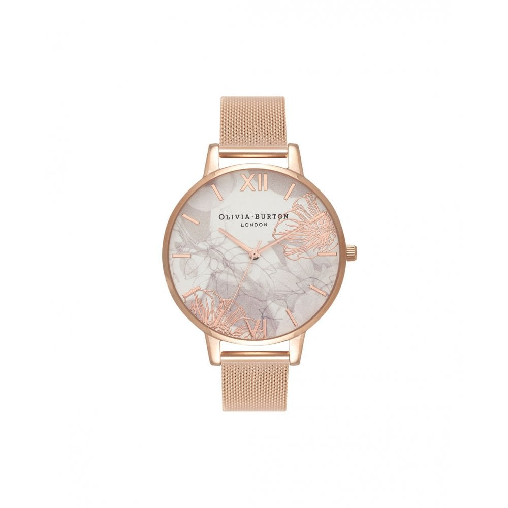 087b95fcd144 Olivia Burton Abstract Florals Rose Gold Mesh Watch - Watches from ...