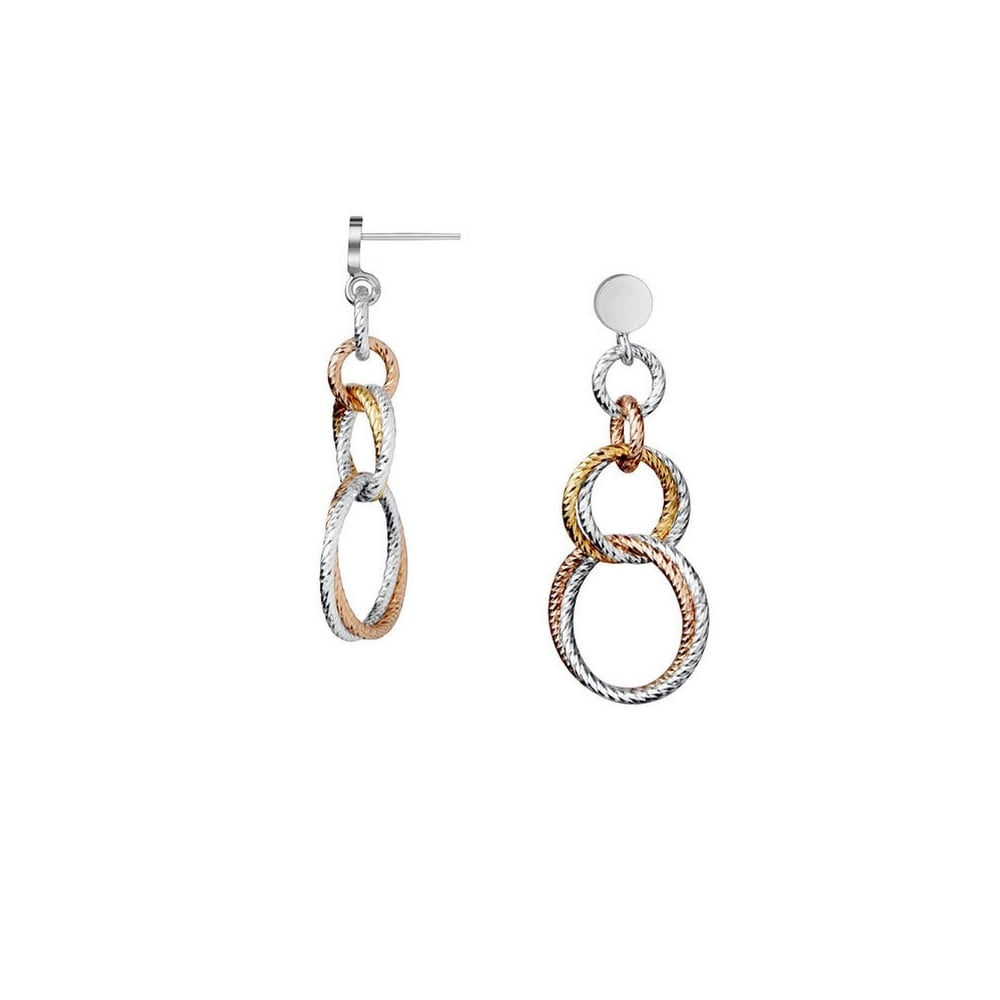 Links of London Aurora Sterling Silver and Rose Gold Vermeil Double Link Earrings v8xcDt