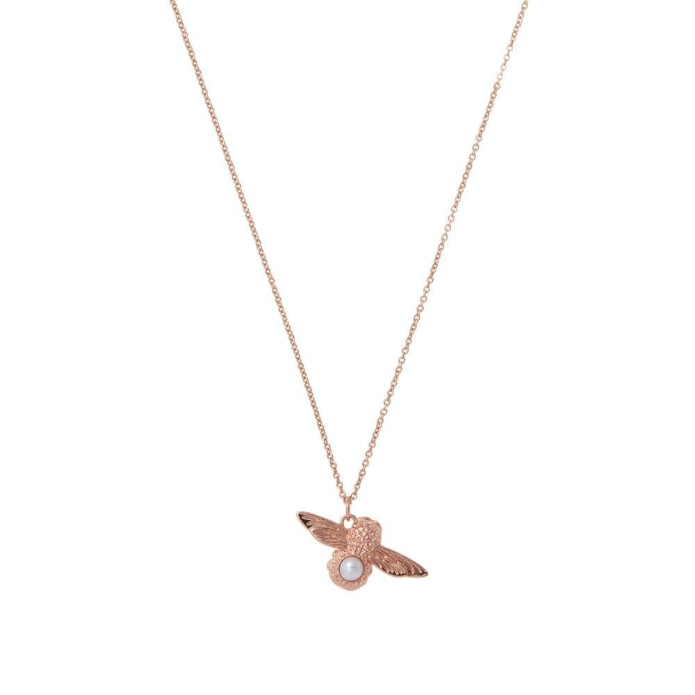e8e7e24eace1 Olivia Burton Pearl Bee Pendant Necklace Rose Gold - Jewellery from ...
