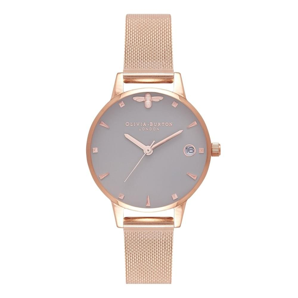 Olivia Burton Queen Bee Grey Date Dial   Rose Gold Mesh - Watches ... 265a332307