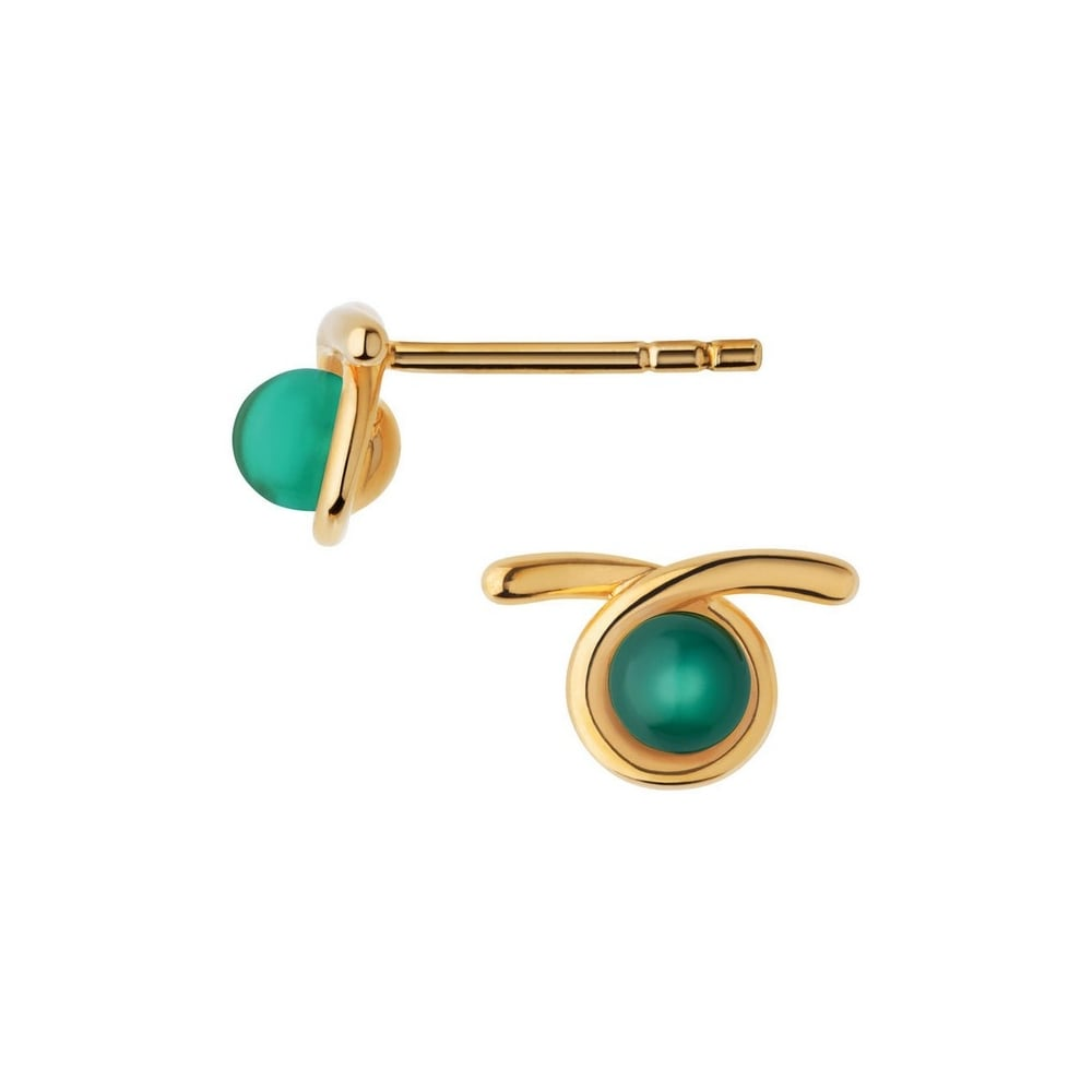 links of london serpentine yellow gold green chalcedony stone stud