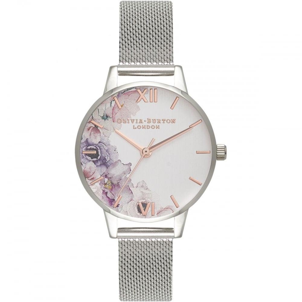 e8a57a3a0e4b Olivia Burton Watercolour Florals Silver Mesh - Watches from ...