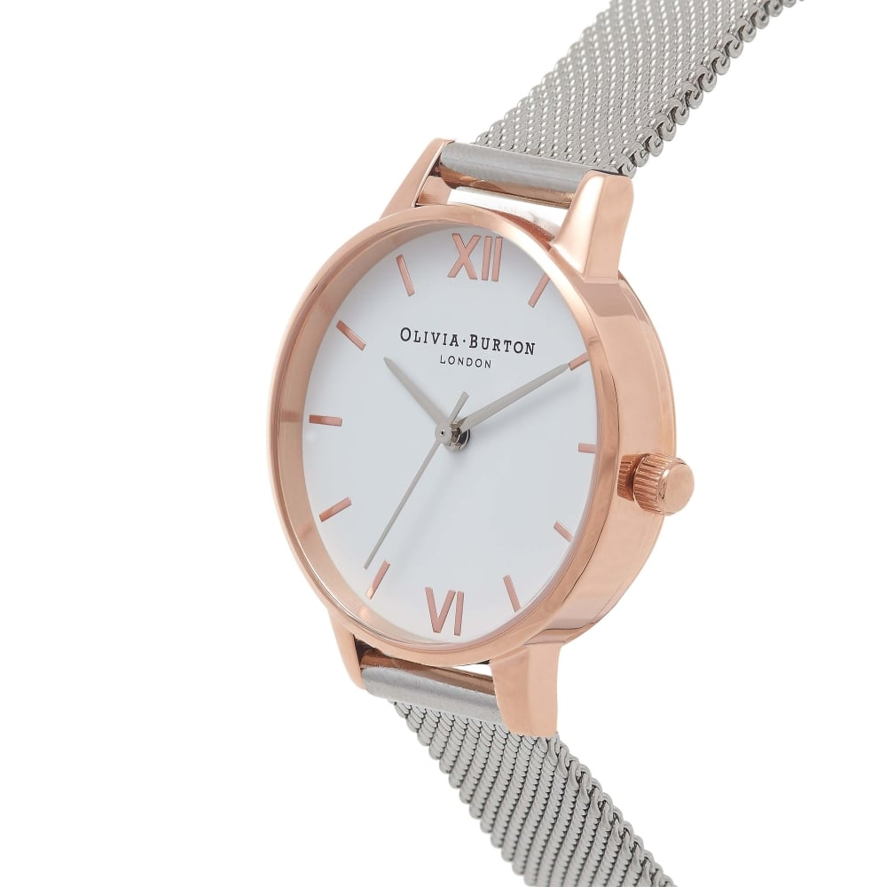 Olivia Burton White Dial Rose Gold   Silver Mesh Watch - Watches ... 6b41d279f7